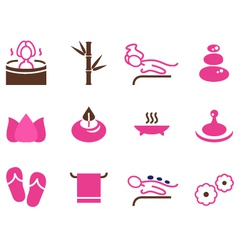 Set of female spa icons isolated on white vector image vector image