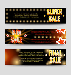 Shining sale horizontal banners template design vector