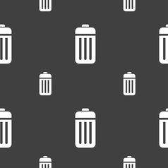 The trash icon sign Seamless pattern on a gray vector image vector image