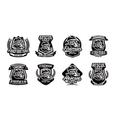 a set of logos emblems a fireman in a gas mask vector image vector image