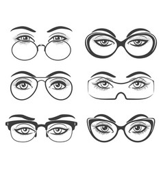 beautiful female eyes in glasses vector image vector image