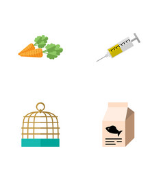 flat icon animal set of bird prison vaccine root vector image vector image