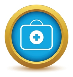 Gold doctor bag icon vector image
