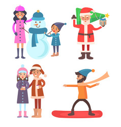 people icons winter collection vector image