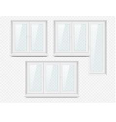 realistic white plastic window icon set vector image vector image
