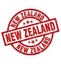 New zealand red round grunge stamp vector