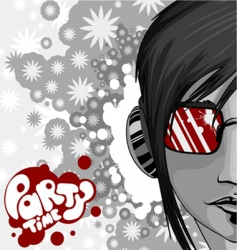 party graphic with woman vector image vector image