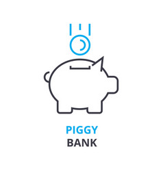 piggy bank concept outline icon linear sign vector image