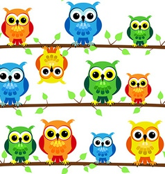 Seamless owls on tree branch vector image vector image