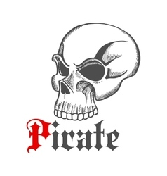 Sketched piracy symbol with old human skull vector image