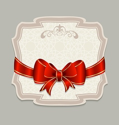 Vintage label with a red bow for design packing vector image