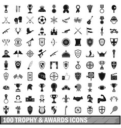 100 trophy and awards icons set in simple style vector image