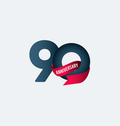 90 years anniversary celebration ribbon gradient vector