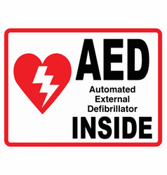 Aed inside wall sign eps 10 vector