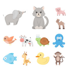 an unrealistic cartoon animal icons in set vector image