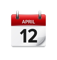 April 12 flat daily calendar icon Date vector image