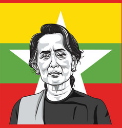 Aung san suu kyi on myanmar flag background vector