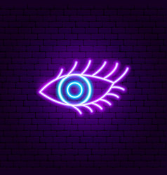 Beauty eye neon sign vector
