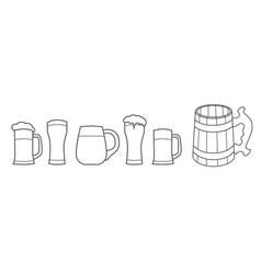 beer glass wooden mug vector image