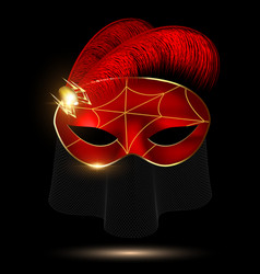 black-crimson half mask vector image