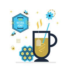 blue golden hot honey tea with emblem and symbols vector image