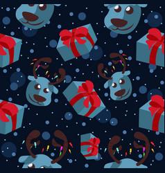blue reindeer head with presents vector image