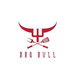 bull BBQ rustic concept design template vector image