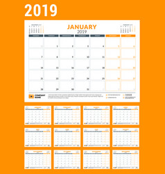 Calendar planner for 2019 year stationery design vector