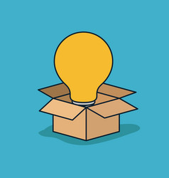 Cardboard box opened with big light bulb in blue vector