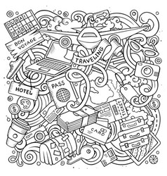 cartoon doodles travel vector image