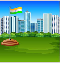Cartoon indian flag fluttering with urban backgrou vector