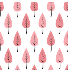 cartoon pink trees in a row seamless pattern vector image