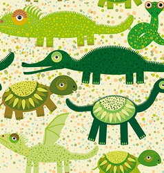 Cheerful seamless pattern with crocodile turtle vector