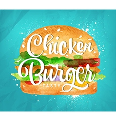 Chiken burger color vector