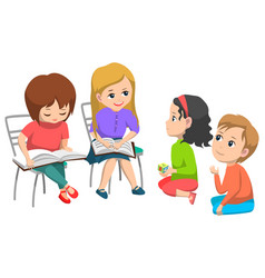 classmates with book elementary school vector image