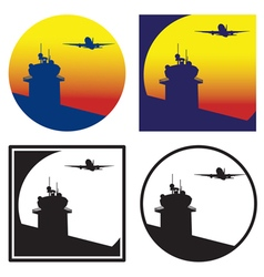 Control tower at sunset vector image