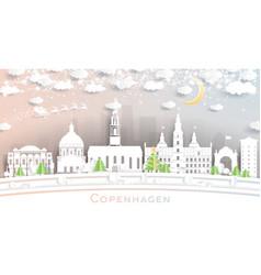 Copenhagen denmark city skyline in paper cut vector