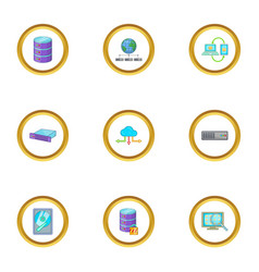 copying data icons set cartoon style vector image