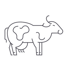 Cow line icon sign on vector