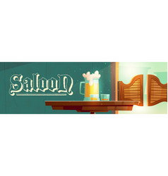 cowboy saloon cartoon banner wild west tavern vector image