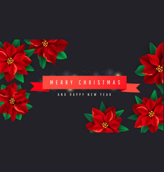 creative christmas background with red ribbon and vector image