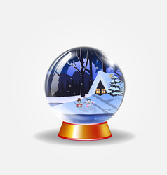 crystal snow globe of winter snowy night landscape vector image