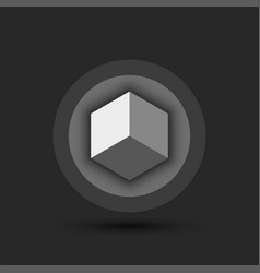 Cube logo for cryptocurrency on a volumetric vector