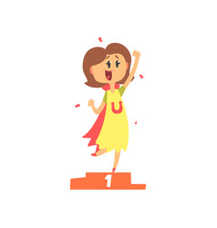 Cute cartoon woman standing on winner podium and vector