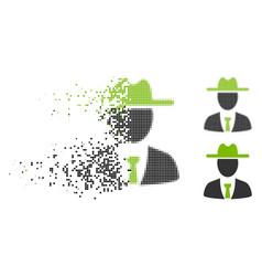 Disintegrating dotted halftone farmer boss icon vector