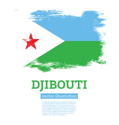 djibouti flag with brush strokes independence day vector image