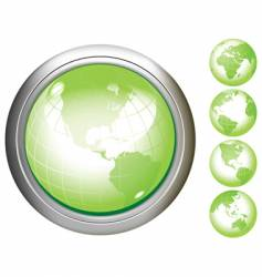 Earth glossy buttons vector