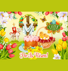 Easter day and egg hunt greeting card design vector