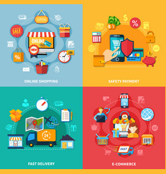 ecommerce colored composition set vector image