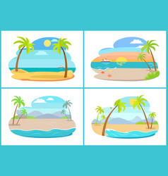 Empty tropical sandy beaches with tall palms set vector